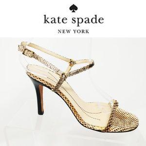 Kate Spade Womens 7 M High Heels Beige Snake heels
